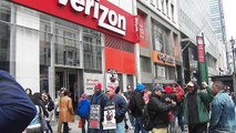 Verizon Workers On Strike, about 50 workers on picket-line NYC-Video 1