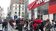 Verizon Workers On Strike, about 50 workers on picket-line NYC-Video 3