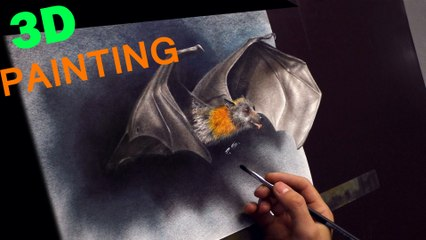 Bat painted in 3D/ Trick Art (Optical Illusion) Drawing