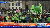 Organizaciones sindicales se movilizan pacíficamente durante el 1 de Mayo en la capital colombiana