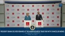 President Obama And Angela Merkel At Hannover Messe Trade Fair