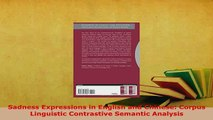 PDF  Sadness Expressions in English and Chinese Corpus Linguistic Contrastive Semantic Download Online