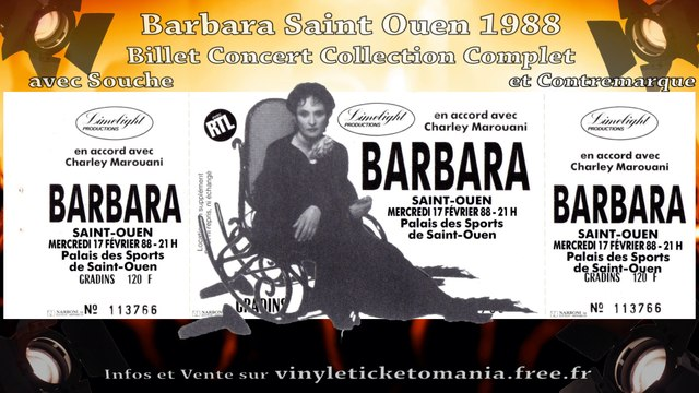 Barbara Concert Saint Ouen 1988 Billet Collector Vente Ancien Ticket Live Vintage Reserver Place Scene Collection Cadeau