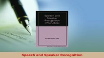 PDF Download) Speech and Speaker Recognition (Bibliotheca