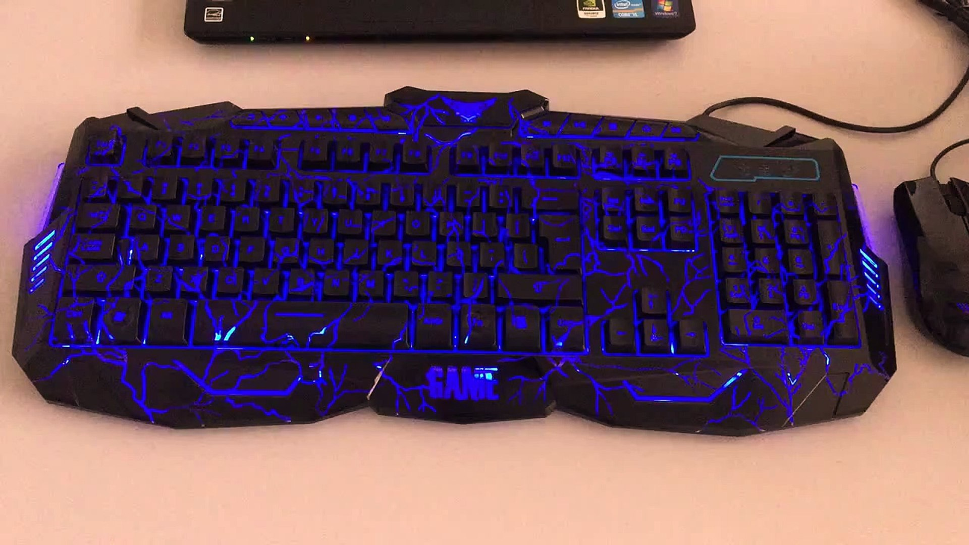 JM GAMING Three Color Adjustable Blue Red Purple LED Illuminated Gaming Keyboard