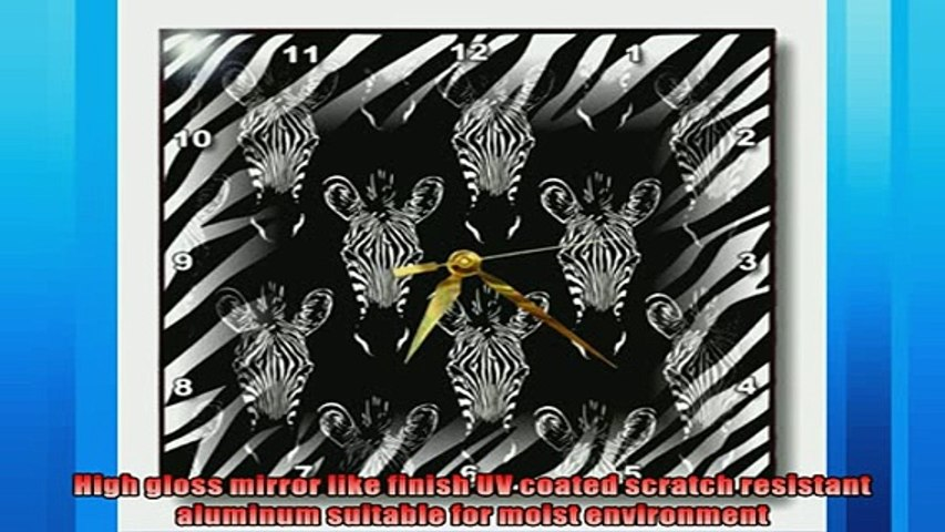 One of the best  3dRose dpp1191842 Black and White Zebra Heads on Zebra Print Wall Clock 13 by 13Inch