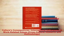 Download  Cultures Consequences International Differences in WorkRelated Values Cross Cultural Ebook