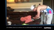 Un homme coupe les cheveux de sa compagne pendant sa sieste ! (Vidéo)
