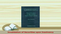 PDF  Invalidation of Securities upon Insolvency Download Full Ebook