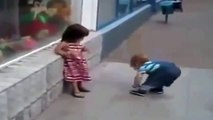Baby Boy Trying To Impress the Baby Girl and Kiss her... Cute and Adorable