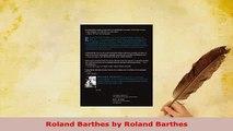 Download  Roland Barthes by Roland Barthes PDF Online