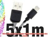 5x doupi® 1m de câble de chargeur de données pour Apple USB 8 broches Lightning - Noir - Données