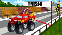 Car Cartoons for kids. Monster Truck & Racing Cars in a Track with Obstacles. Series 6. Season 5