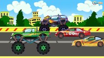 ✔ Monster Trucks with Sport Cars Race / Police Car and Tractor / New Cartoons Compilation ✔