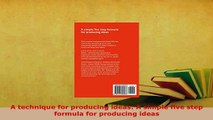 PDF  A technique for producing ideas A simple five step formula for producing ideas  EBook