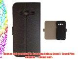 Housse cuir portefeuille Samsung Galaxy Grand / Grand Plus animaux - - cheval noir -