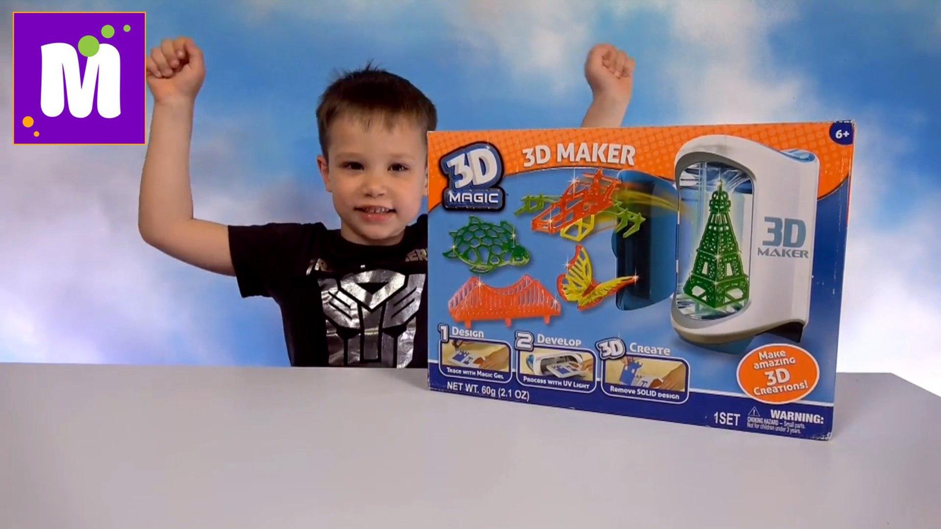 3Д принтер у Макса  игрушки мэйкер делаем объёмные машинки зверюшки и мосты распаковка новое видео 3