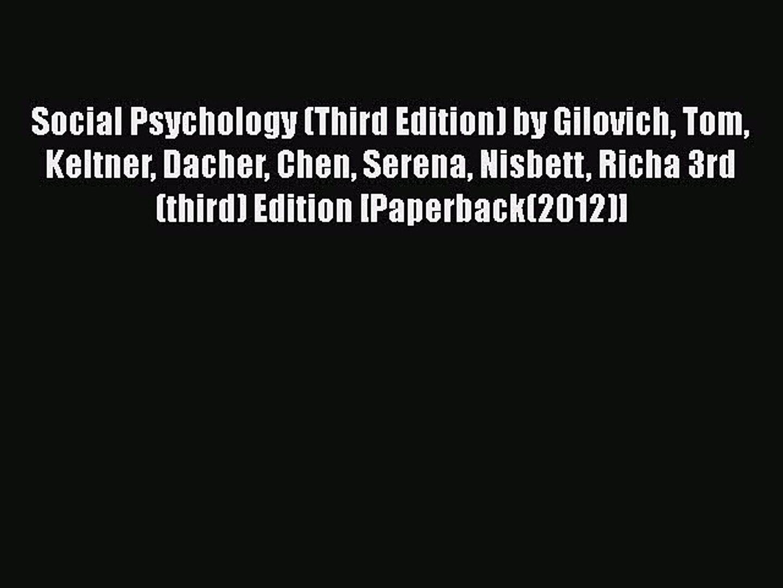 social psychology 3rd edition gilovich pdf