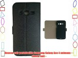 Housse cuir portefeuille Samsung Galaxy Ace 4 animaux - - cheval noir -