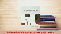 PDF  Defamation Comparative Law and Practice  EBook
