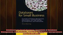 FREE EBOOK ONLINE  Databases for Small Business Essentials of Database Management Data Analysis and Staff Full EBook