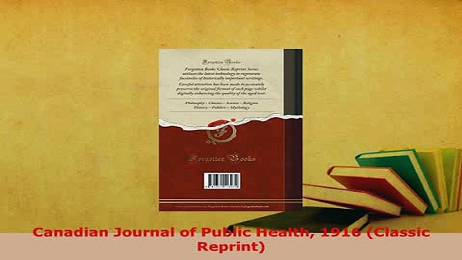 PDF  Canadian Journal of Public Health 1916 Classic Reprint Free Books
