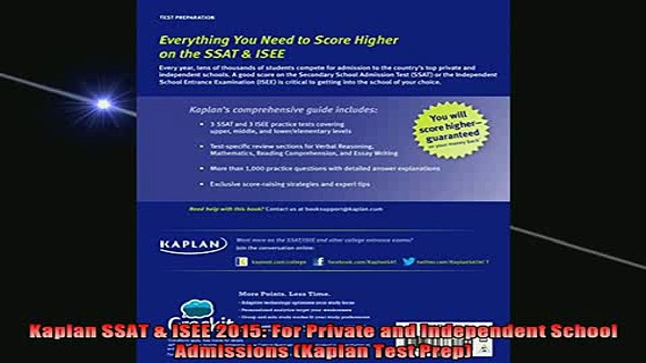 For Private and Independent School Admissions Kaplan SSAT /& ISEE 2016