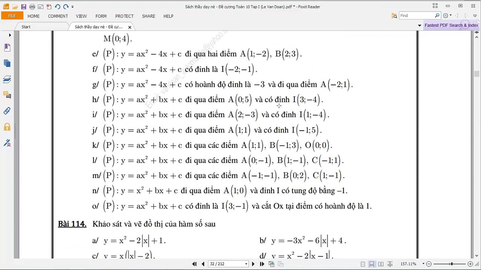 [TOÁN 10] II.C HÀM SỐ BẬC HAI- Bài 2 112 Tọa độ giao điểm 2 hàm Parabol