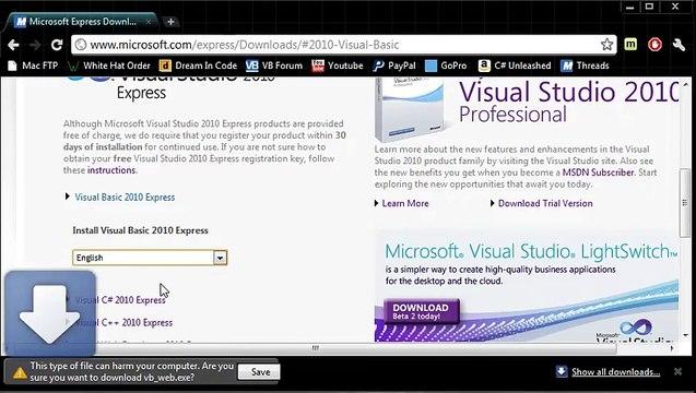 Visual Basic Tutorial - 2 - Installing The Visual Basic IDE