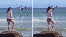 Aspiring Model/Actress --- In Photo Shoot Fail ... Takes Drone to the Face!!