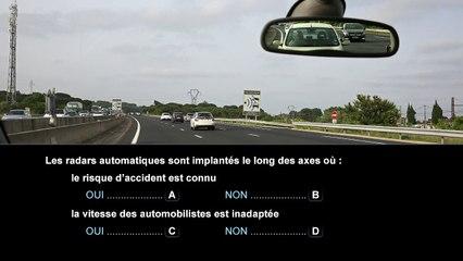 Nouvelle épreuve du code de la route - Conscience des risques liés à la vitesse