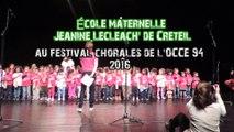 """Chorale de l'école Jeanine Le Cleac'h à Creteil au """"Festival Chorales 2016"""" de l'OCCE 94."""