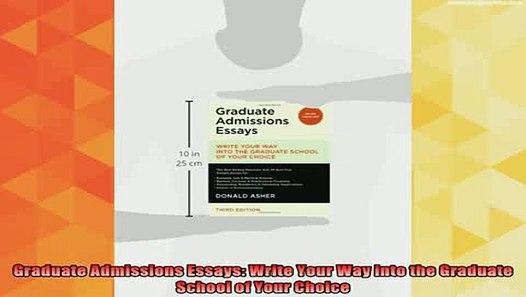 Best graduate school admission essays write way into the graduate