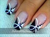 Quick Black and White Nail Art - Monochrome French ♥ Diseño de Uñas Negro y Blanco - YouTube