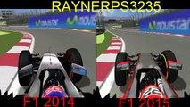 F1 2015 vs F1 2014 rFactor comparison | McLaren-Honda MP4-30 vs McLaren Mercedes MP4-29 on Canada