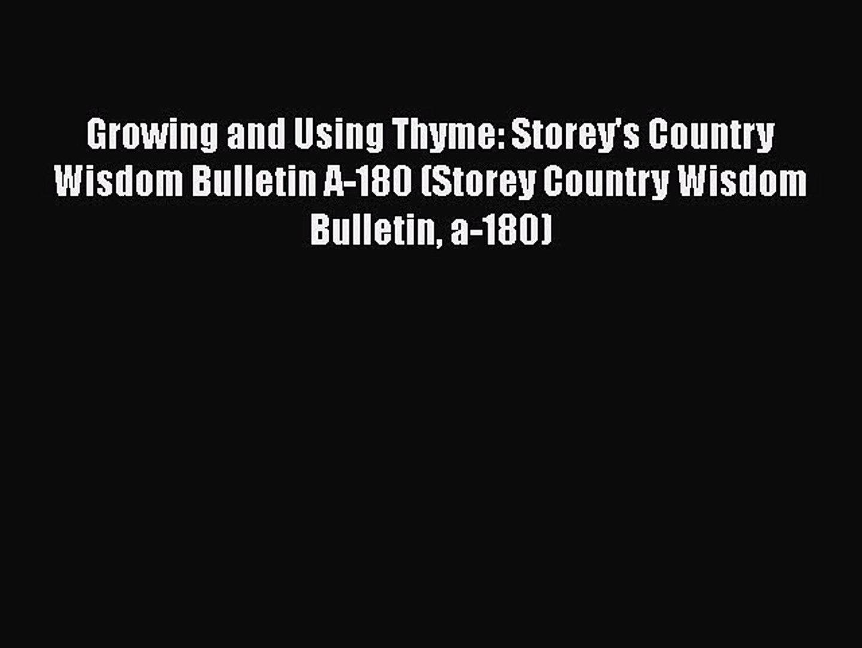 Growing & Using Oregano (Storeys Country Wisdom Bulletin A-157)