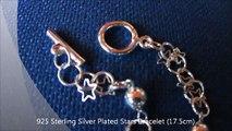 925 Sterling Silver Plated Stars Bracelet 17 5cm