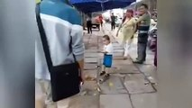 Little Chinese Boy with metal pipe Fights with Police