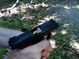 High-Speed Close Up Shooting the Ruger SR-22 Pistol