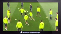 Funny - Luka Modric lightly pushes Cristiano Ronaldo over, Real teammates mock him for diving • 2016