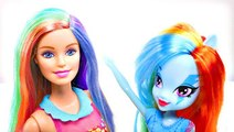 Barbie & MLP Rainbow Dash make Braided Rainbow Bagels | Fun Barbie Videos by DCTC