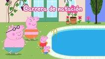 Peppa Pig en Español. La competência de natacion.  De dibujos animados, Juego  para los niños