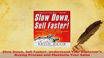 PDF  Slow Down Sell Faster Understand Your Customers Buying Process and Maximize Your Sales Download Online