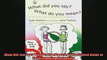 FREE PDF  What Did You Say What Do You Mean An Illustrated Guide to Understanding Metaphors READ ONLINE