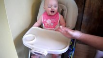 June 28, 2012 - Delaney (7.5 months old): Trying puffs for the first time