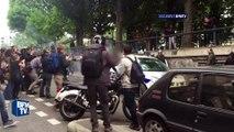DOCUMENT BFMTV – Les images des fumigènes lancés dans la voiture de police brûlée à Paris