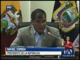 Correa dio una rueda de prensa ante las réplicas sentidas
