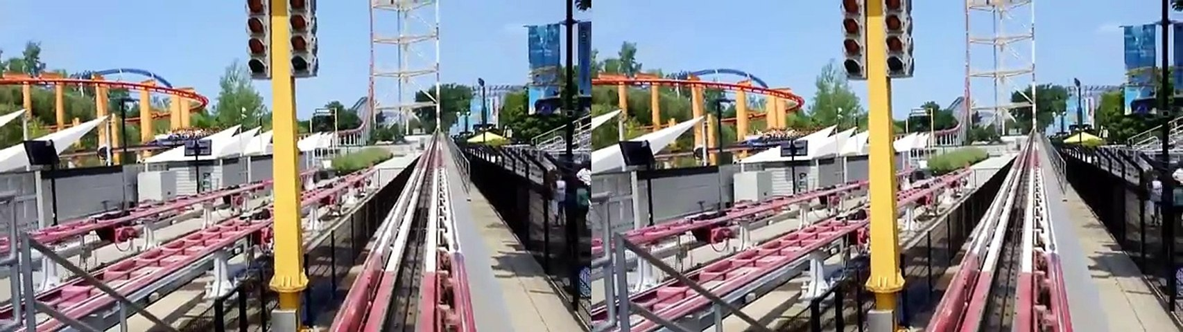 ROLLER COASTER Top Thrill Dragster Front Seat POV Cedar Point Side by side SBS Virtual Reality VR