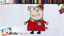 Hướng dẫn bé tô màu mẹ Peppa Pig giáng sinh vui vẻ - Coloring Peppa Pig - Раскраска Свинка Пеппа
