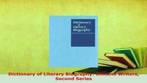 Download  Dictionary of Literary Biography Chicano Writers Second Series  Read Online